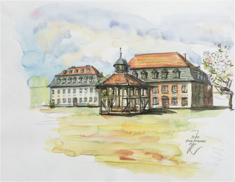 Herrnhaag im April Aquarell von Dr. Jens Rickmann